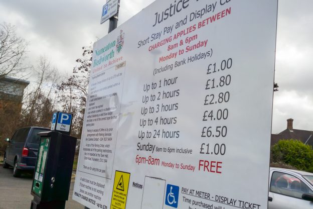 Nuneaton Car Park Tariff Board