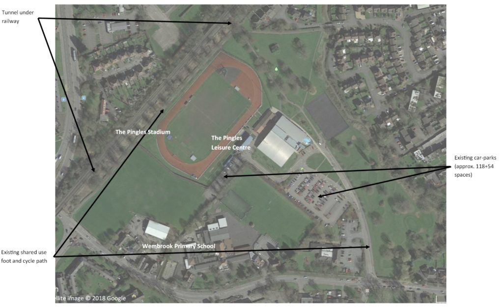 Google Earth satelitte image of the existing Pingles/Riversley Park site.